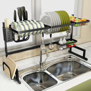 details about over sink dish drying rack drainer stainless steel kitchen cutlery holder shelf