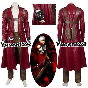 DMC Devil May Cry Dante ropa de Halloween Cosplay disfraz abrigo largo rojo Pantalones