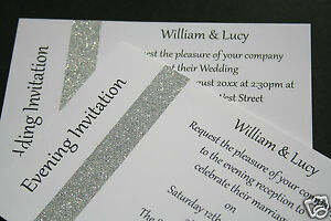 Details About Wedding Invitations Day Evening Glitter Sparkle Silver Or Gold Strip