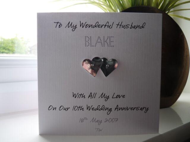Handmade Personalised Tin 10th Wedding Anniversary Card