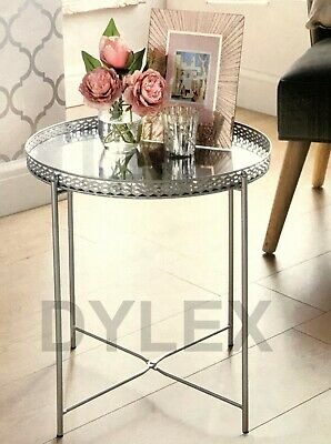 silver tray table with mirrored glass top coffee table with removable tray top 1000036378905 ebay