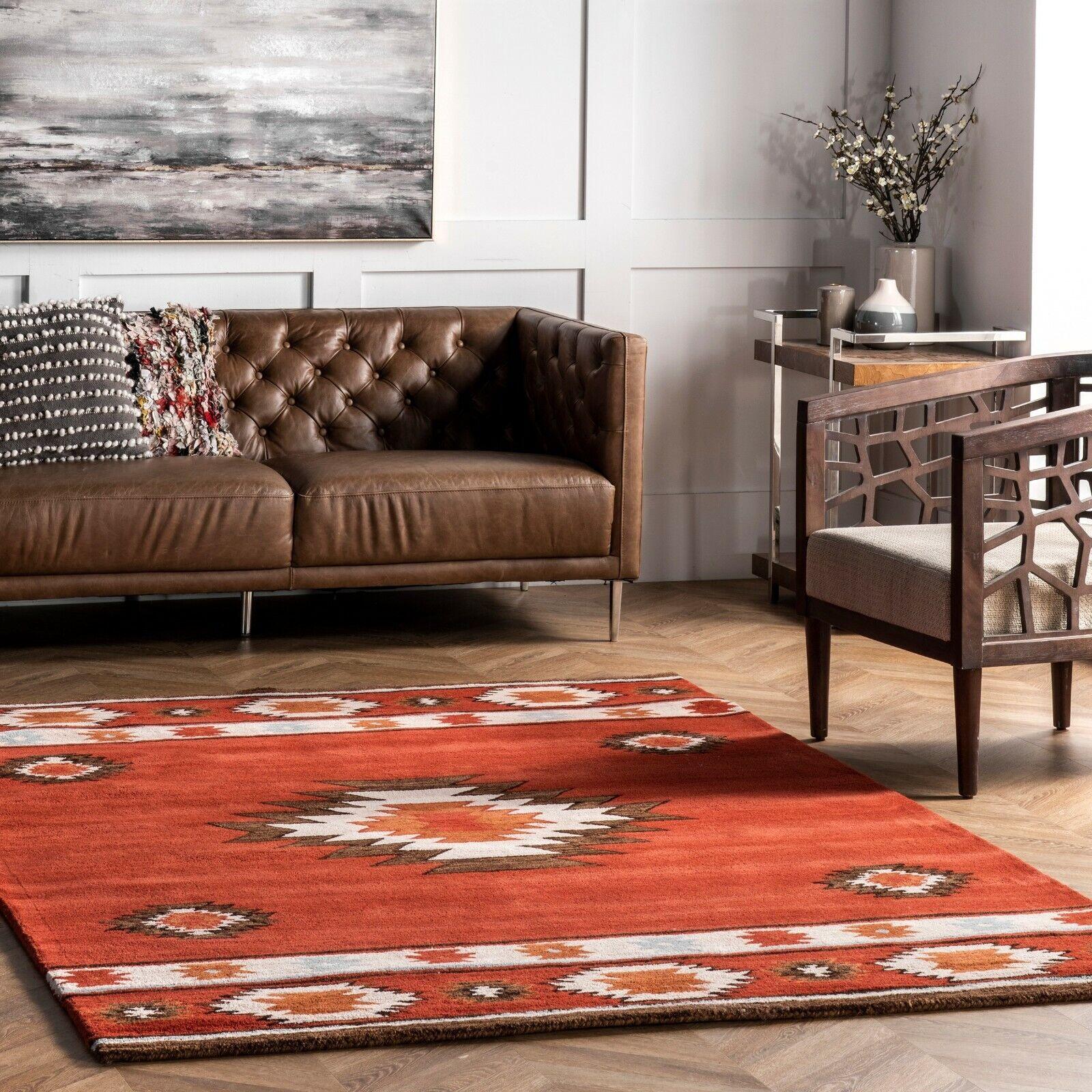 Nuloom Handmade Southwestern Geometric Wool Area Rug In Burnt Orange Wine Color For Sale Online