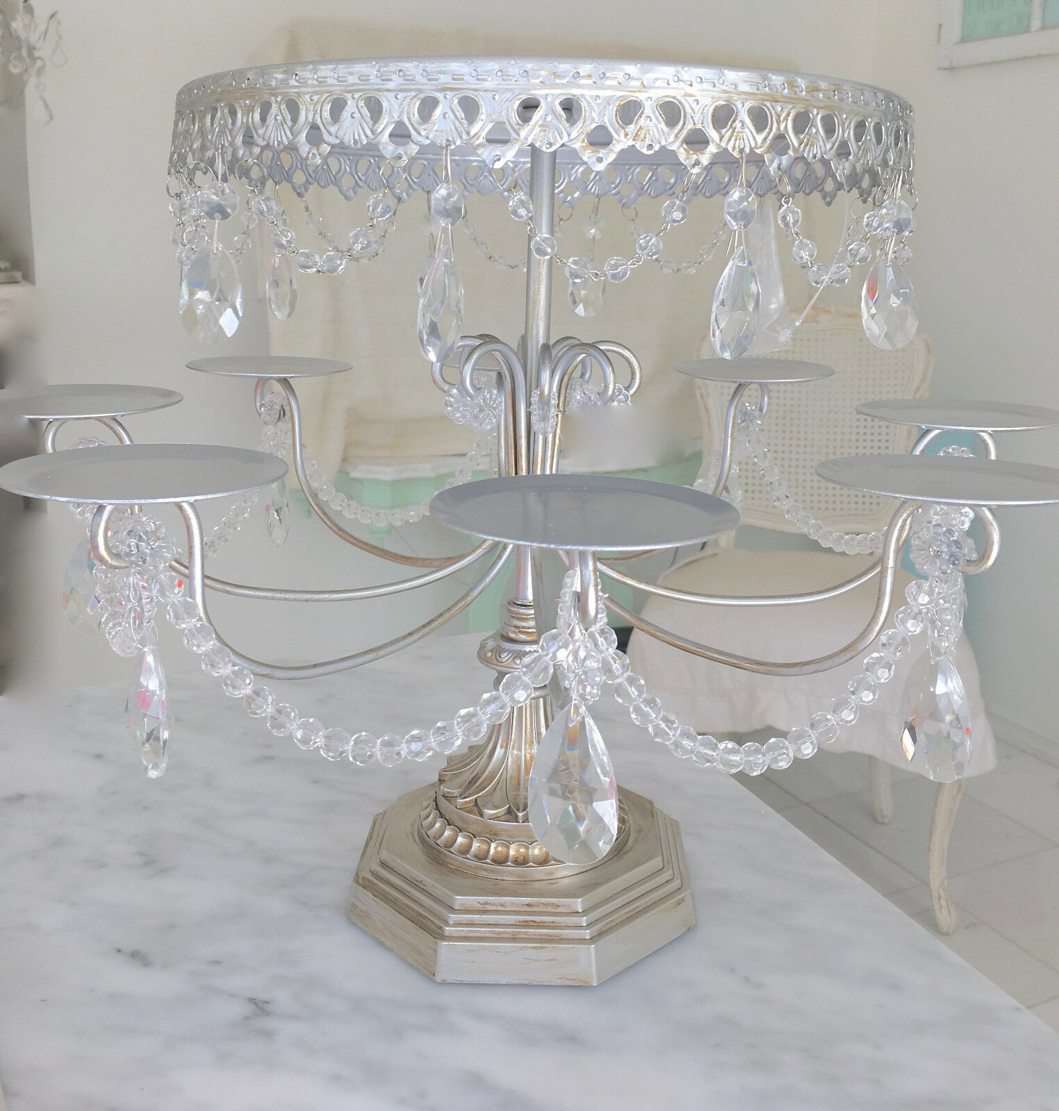 Large Shabby Crystal Silver Chic Cupcake Candelabra Table
