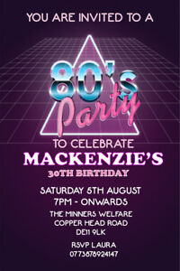 details about personalised 80s theme birthday party invites envelopes b143