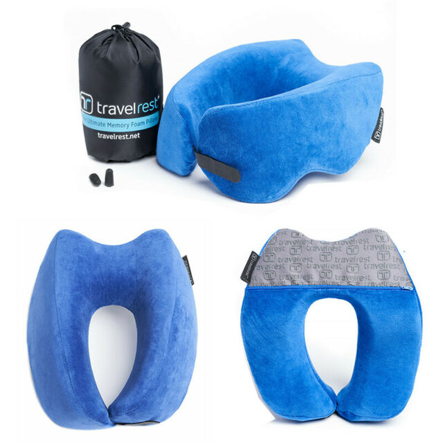 travelrest ultimate memory foam travel neck pillow therapeutic washable cover