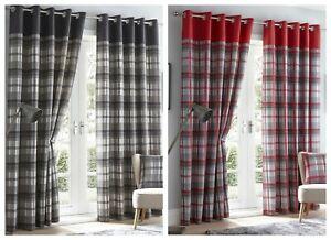 details sur tartan carreaux a œillets et rideaux doubles ou housse de coussin rouge gris afficher le titre d origine