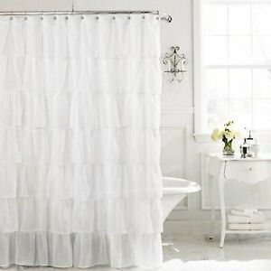 details about chic ruffle semi sheer shower curtain white new free shipping