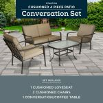 4 Piece Patio Conversation Set Grey With Leaves Seats 4 Outdoor Garden Furniture For Sale Online Ebay
