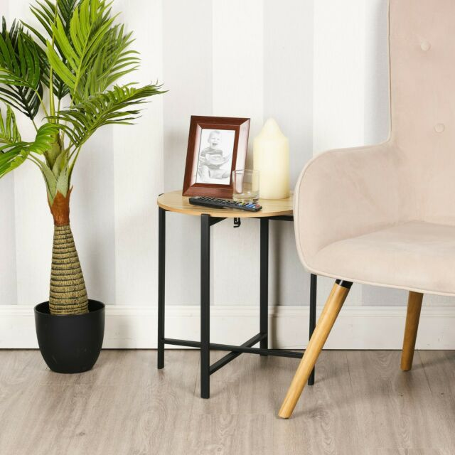 round wooden mdf side end coffee tables stands black metal frames legs sofa home