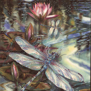 ETHEREAL DRAGONFLY WITH LILY PAD FLOWERS GLITTER ADDED BIRTHDAY     Image is loading ETHEREAL DRAGONFLY WITH LILY PAD FLOWERS GLITTER ADDED