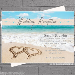 Details About 100 X Beach Heart Wedding Invitations Abroad Reception H0004