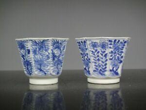 Two Beautiful Chinese Porcelain B/W Kangxi Cups-Flowers-1