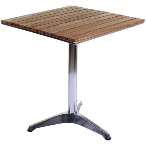 bistro table aluminium chrome wood square outdoor garden patio cafe furniture
