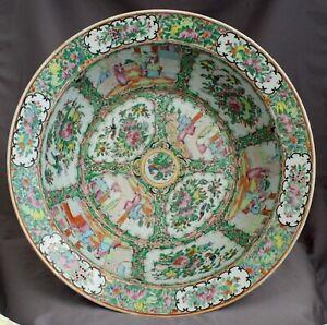Chinese Qing Dynasty Rose Mandarin Medallion Porcelain Export Wash Basin