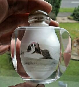 FINE VINTAGE CHINESE INSIDE PAINTED GLASS SNUFF BOTTLE – PEKINGESE DOGS