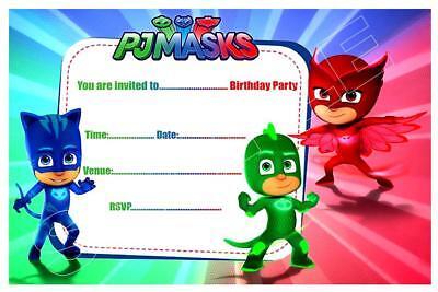1 x pj masks childrens blank fill in diy birthday invitations free magnets ebay