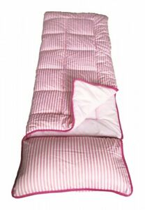 details about sunncamp pink stripe childs kids sleeping bag with built in pillow
