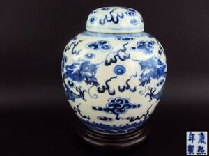 Chinese Porcelain Oriental Antique Blue White Vase with Kangxi Mark & Wood Stand