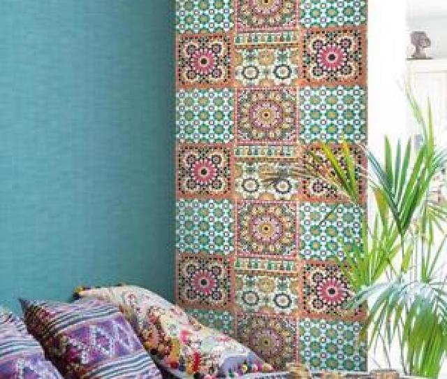 Das Bild Wird Geladen Grandeco Tapete Luxus Botanisch Marokkanische Kachel Muster Orange