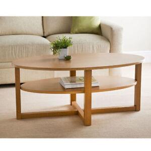details sur bois massif grande ovale table basse avec undershelf couloir meuble finition chene afficher le titre d origine