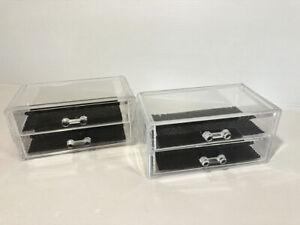 details sur 3 boites de rangement bijoux en plexi transparent coffret coffre