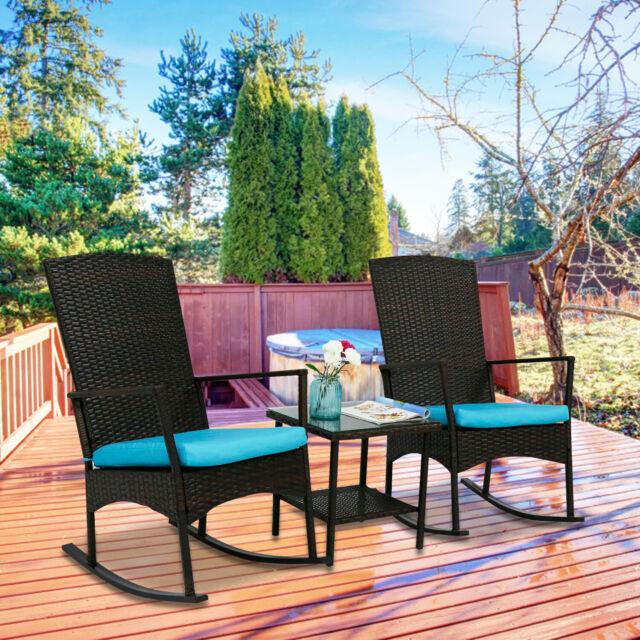3 pcs rattan wicker patio furniture set