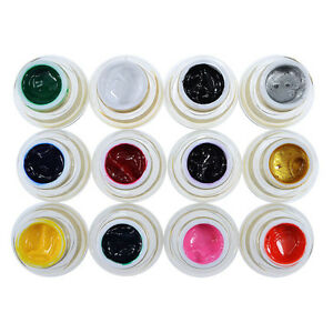 Pro 12 Colors 3D Nail Art Paint Draw Painting Acrylic Color UV Gel Tip DIY Kits