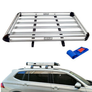 details about 64 lightweight aluminum universal roof rack cargo carrier luggage basket suv