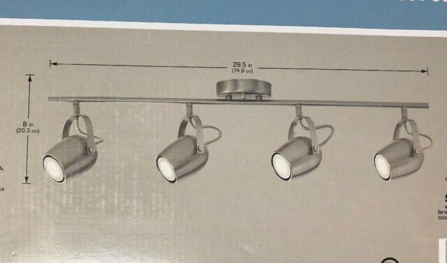 hampton bay 4 light led directional brushed nickel track lighting kit