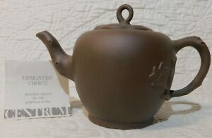 Chinese Yixing Brown Clay Nature leaves Tea Pot art pottery Signed Marked