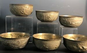 Lot 6 Vintage Chinese Export Bird and Flower Engraved Brass Pewter Bronze Bowls