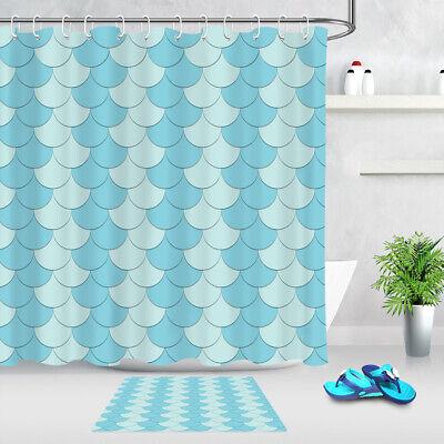 light blue mermaid fish scales pattern shower curtain set waterproof fabric 72 ebay