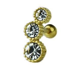1,2mm Glitzer Ohr Helix Piercing Schmuck mit 3 Kristall Kugeln Silber Gold