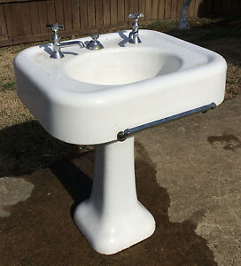 details about rare early 1900 s antique vintage seperate faucet kohler pedestal bathroom sink