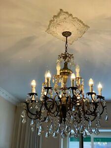 Pendente goccia lampadari originale boemia. Lampadario Cristallo In Ottone E Gocce Di Cristallo Di Boemia Anni 40 Spediz Ebay