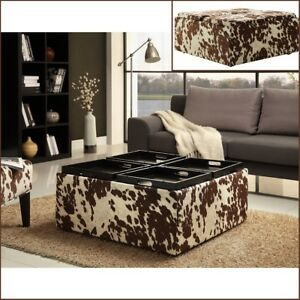 details about large square country rustic coffee table storage ottoman faux cow upholstery