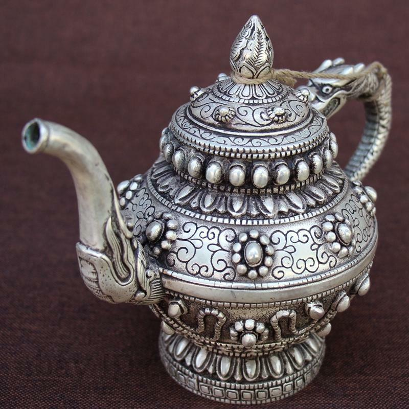 Chinese white copper Silvering carving Dragon Handle Beast Wine Tea Pot Flagon