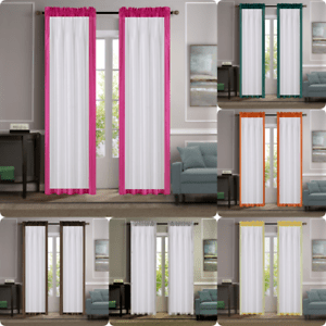 details about 2pc solid color block border faux silk semi sheer window curtain panel 84 l amy