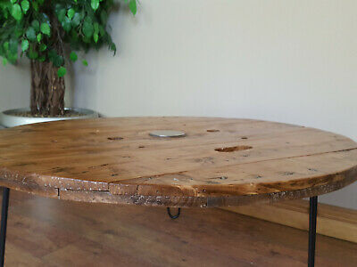 extra large industrial wooden cable reel drum round coffee table ebay