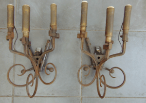 PAIR ANTIQUE FRENCH WW1 MILITARY PARTS WALL SCONCE LIGHTS ... on Wall Sconce Parts id=13828