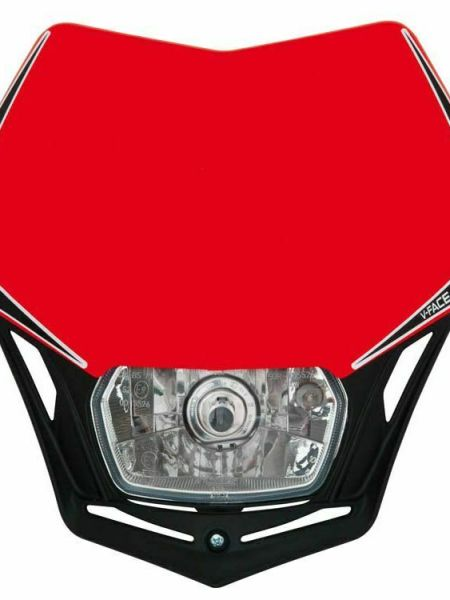 Mascherina portafaro moto cross enduro V-Face Racetech rosso nero RTech Alogena