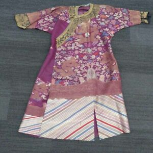 Chinese Republic Silk Robe, 5 Clawed Dragon Flaming Pearl, Flowers Symbols