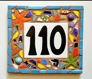 details about custom tile mosaic house number address sign name plaque mosaic art hand made