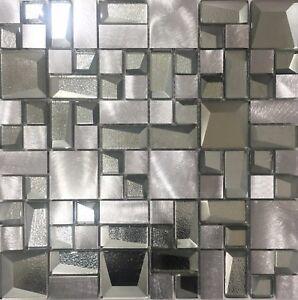 details about alaska silver glass metal mosaic tile sheets bathroom kitchen wall sale