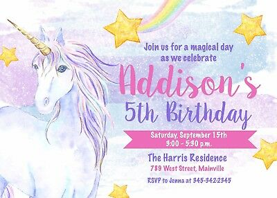 unicorn invitacion de fiesta de cumpleanos fiesta arco iris magico unicornio ebay