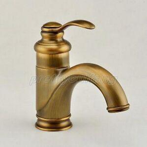 details about antique brass bathroom faucet single handle hole vanity sink mixer tap pnf008