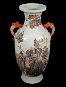 FINE OLD CHINESE PORCELAIN VASE WARRIOR IMMORTAL GODS ANIMALS QIANLONG TYPE MARK