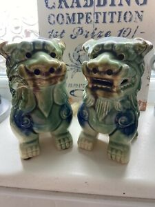 """Vintage Dogs Of Foo Pair Green Glazed Approx 9"""""""