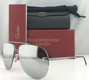 Cartier Sunglasses Panthere Aviator Gray Mirror Lenses   Silver     Image is loading Cartier Sunglasses  Panthere Aviator Gray Mirror Lenses Silver