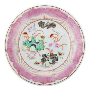 VERY Rare 19th C Chinese Export Style Lotus Form Charger Paris Porcelain 14 Inch